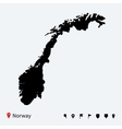high detailed map norway with navigation pins vector image vector image