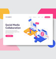landing page template social media collaboration vector image vector image