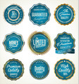 luxury gold and blue premium quality labels vector image vector image