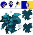 map of santiago chile with named divisions vector image vector image