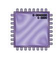 microchip closeup icon in color crayon silhouette vector image vector image