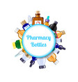 pharmacy medicine bottles under circle with vector image