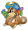 pirate monkey with parrot vector image