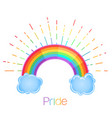 rainbow with rays symbol lgbt community gay vector image vector image