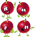 red plum cartoon with hands and legs standing vector image vector image