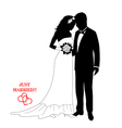 Romantic couple silhouettes with a sign vector image vector image
