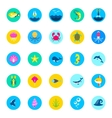 set 25 sea icons marine fishes and nature flat vector image vector image