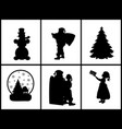 set silhouettes child santa snowman christmas tree vector image vector image