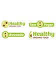 set vegan logo with avocado vector image