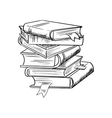 stack books with bookmarks vector image
