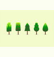 tree set on green background vector image vector image