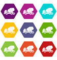 truck concrete mixer icon set color hexahedron vector image vector image