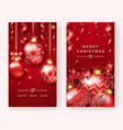 two christmas poster templates with shining balls vector image vector image