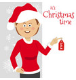 young woman wearing santa clause costume vector image