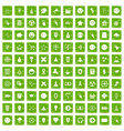100 interface pictogram icons set grunge green vector image vector image