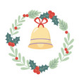 bell wreath holly berry celebration merry vector image vector image