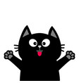 black cat face head tongue paw print silhouette vector image vector image