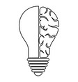 brain lamp icon outline vector image vector image