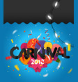 carnival invitation card with paper flowers vector image