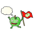 cartoon apple with flag with thought bubble vector image vector image