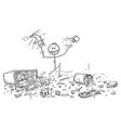 cartoon of naughty or disobedient little boy vector image