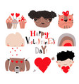 cartoon set with valentines day elements on white vector image vector image