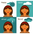 Cartoon woman character emotions icons composition vector image