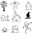 Castle ghost pumpkins tomb doodle Halloween vector image vector image