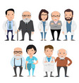 characters doctors with elderly patients vector image
