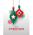 christmas and new year card papercut baubles vector image