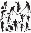 cleaning-house silhouettes vector image