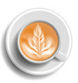 coffee cup top view hot cappuchino coffee vector image