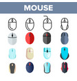 computer mouse thin line icons set vector image
