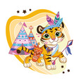cute cartoon character tiger cub with bow arrows vector image