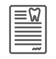 dental document line icon dentist and paper vector image vector image