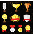 different cups set on black background golden vector image vector image