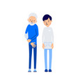 doctor and patient elderly man holds sore hand vector image