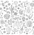 Doodles seamless pattern mexico