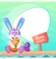 easter bunny with colorful egg vector image vector image