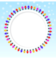Festive blue background frame of colored lights vector image vector image