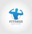 Fitness sport center logo blue vector image vector image