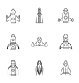 Flight in cosmo icons set outline style vector image