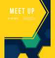 geometric cover design colorful meet up card vector image vector image