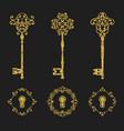 golden glitter vintage keys and keyholes set vector image vector image