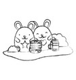 grunge cute mice with donuts and milk box vector image vector image