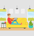 guy sitting on sofa with laptop computer vector image vector image