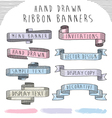 hand drawn banner and ribbon design set vector image vector image