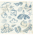 Hand drawn retro icons summer beach set vector image vector image