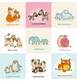 Happy Mothers Day Cards - with cute animals vector image vector image