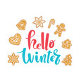 hello december poster card hand drawn vector image